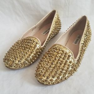 Steve Madden Gold Studded Loafers